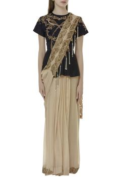 Pre-draped skirt saree & blouse