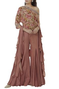 Printed Top With Flared Pants Set