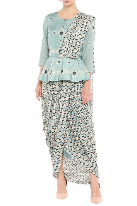 Chanderi Pre-draped peplum style saree