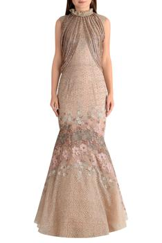 Embroidered fish cut gown