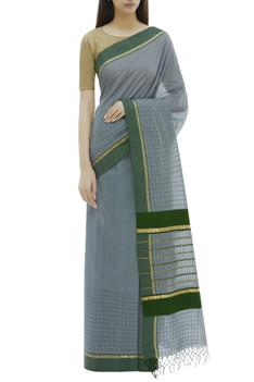 Checkered Cotton Saree with Running Blouse
