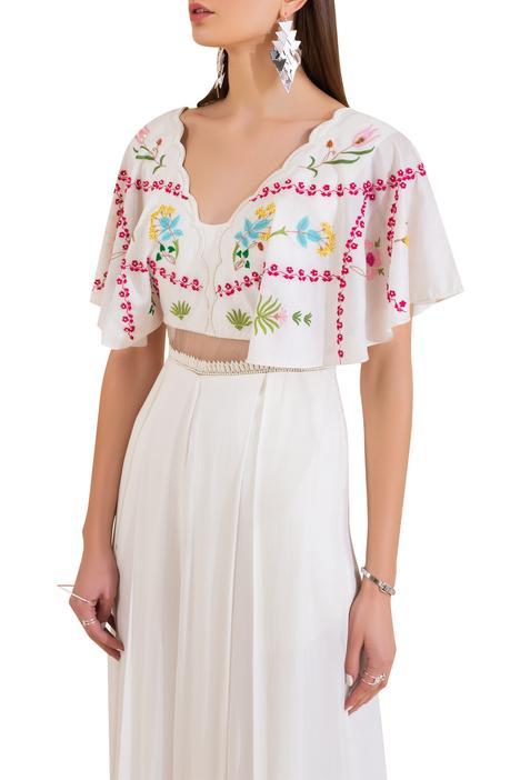 Chanderi Embroidered Jumpsuit