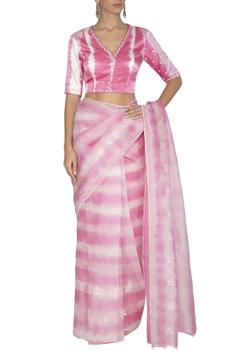 Embroidered Tie & Dye Saree with Blouse