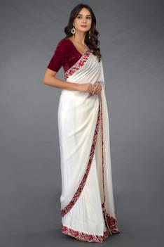 Embroidered Saree with Unstitched Blouse Fabric