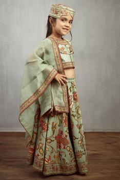 Chanderi Printed Lehenga Set
