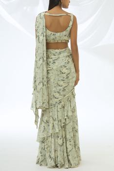 Printed Pre-Draped Saree with Stitched Blouse