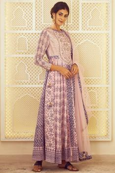 Block Print Anarkali Set