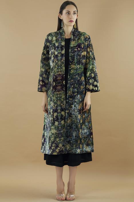 Silk Velvet Long Jacket