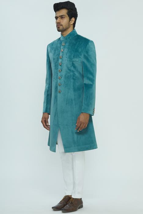 Suede Sherwani Set