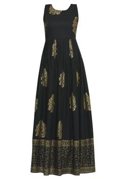 Block Print Anarkali with Dupatta