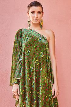 Printed Silk Velvet Tunic Set