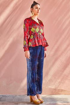 Printed Silk Velvet Pant Set