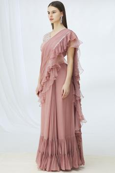 Ruffle Saree with Blouse