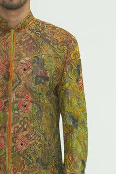 Silk Hand Painted Sherwani Set