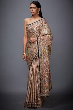 Silk Satin Floral Saree with Unstitched Blouse Fabric