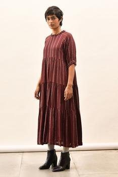 Tiered Striped Peasant Dress