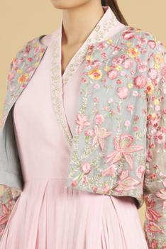 Cotton Silk Gown with Embroidered Jacket