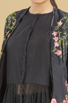 Organza Dress with Embroidered Jacket