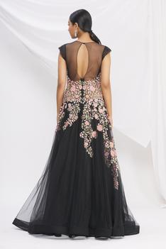 Floral Embroidered Flared Gown