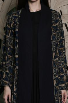 Batik Print Quilted Jacket with Maxi Dress
