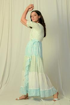 Block Print Tiered Ruffle Dress