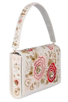 Velvet Floral Embroidered Flap Clutch