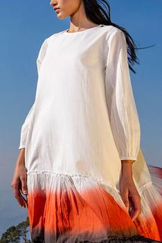 Tiered Dyed Midi Dress