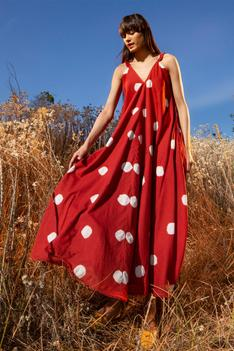 Shibori Dyed Polka Dot Dress
