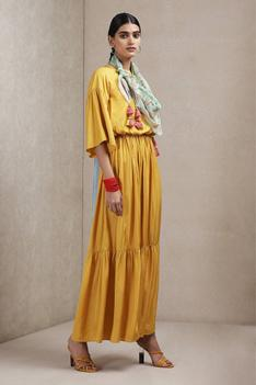 Tiered Maxi Dress with Tassel Scarf