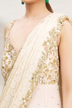 Embroidered Layered Saree Gown
