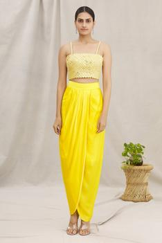 Embellished Top & Dhoti Skirt Set