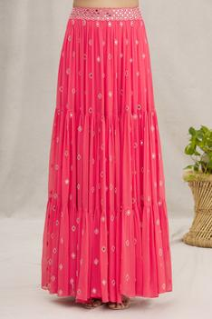 Sequin Embroidered Blouse & Skirt Set