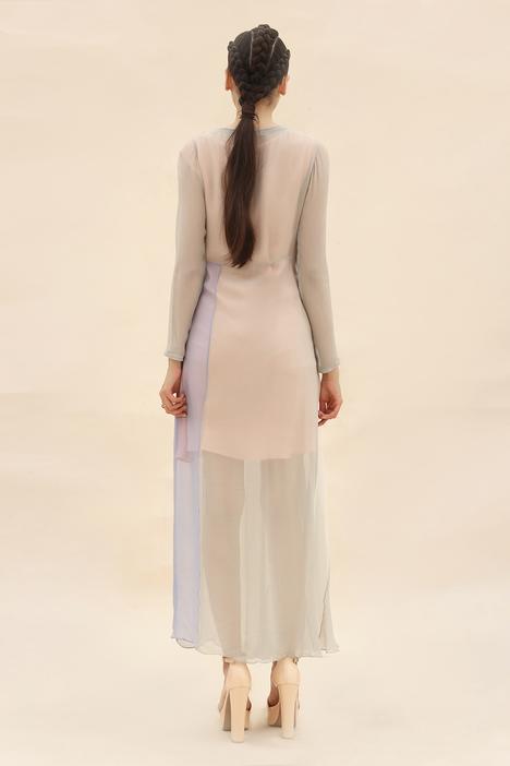 Colorblock Draped Dress
