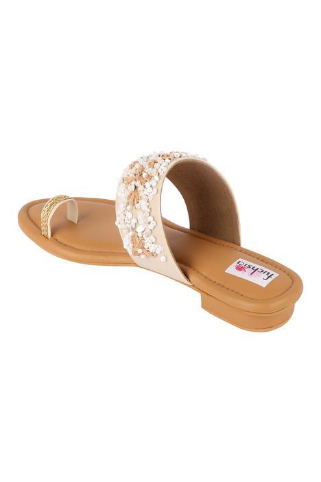 Silk Embroidered Heel Sandals