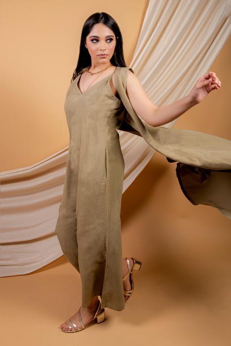 Cotton Linen Jumpsuit With Cape