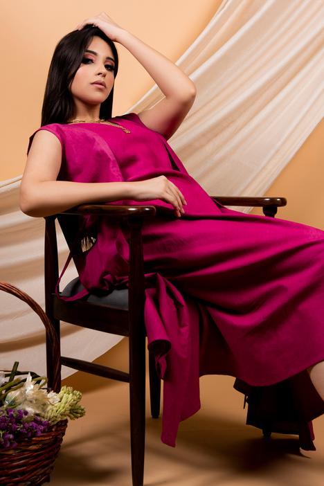 Cotton Linen Dress with Cape