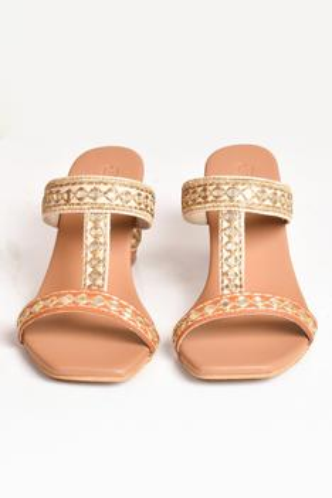 Vegan Leather Kolhapuri Block Heels