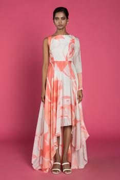 Silk Hand Painted Asymmetric Dress