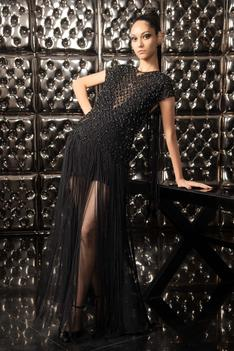 Fringe Embroidered Gown