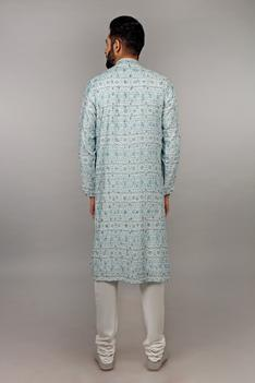 Printed Silk Kurta Set