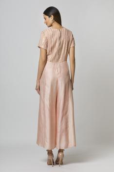 Silk Jumpsuit with Embroidered Organza Cape