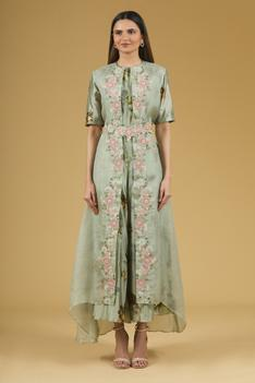 Printed Silk Jumpsuit with Embroidered Organza Jacket