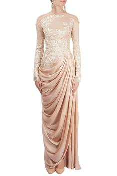 Draped Embroidered Gown