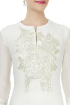 Ivory cotton silk sequin finished kurta
