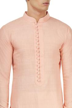 Peach textured kurta