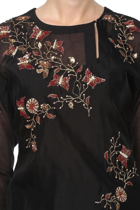 Black embroidered suit set