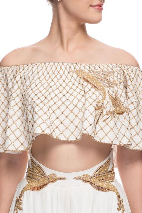 Ivory crop top & palazzo pants