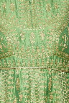 Emerald green embroidered anarkali set