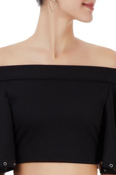 Black off-shoulder top with mesh skirt