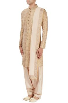 Gold motif pattern sherwani set